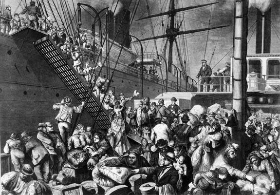Deutsche Emigranten gehen an Bord eines in die USA fahrenden Dampfers (um 1850)