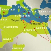 Routen und Herkunft der Flüchtlinge 2014/2015 © ARD