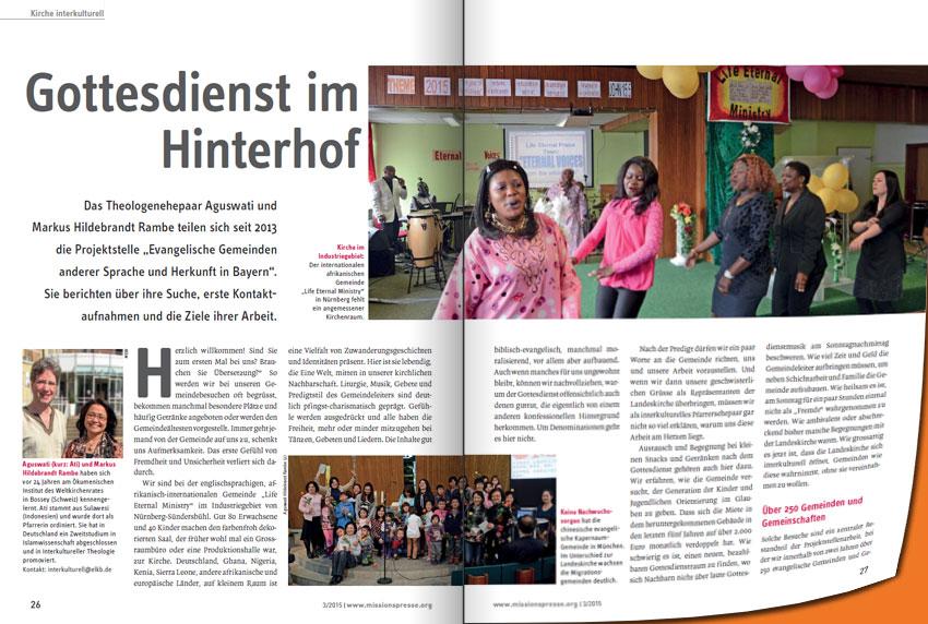 """Zeitschriftenartikel """"Gottesdienst im Hinterhof"""""""