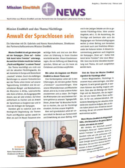 """Artikel aus der Zeitschrift """"Mission EineWelt"""", Ausgabe 4/2015"""